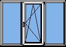 Трех-секционное пластиковые окна ПВХ